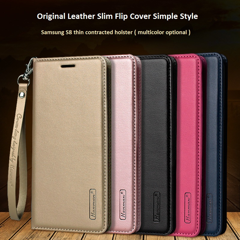Samsung S8 Original Leather Slim Flip Cover Hanman Simple Style